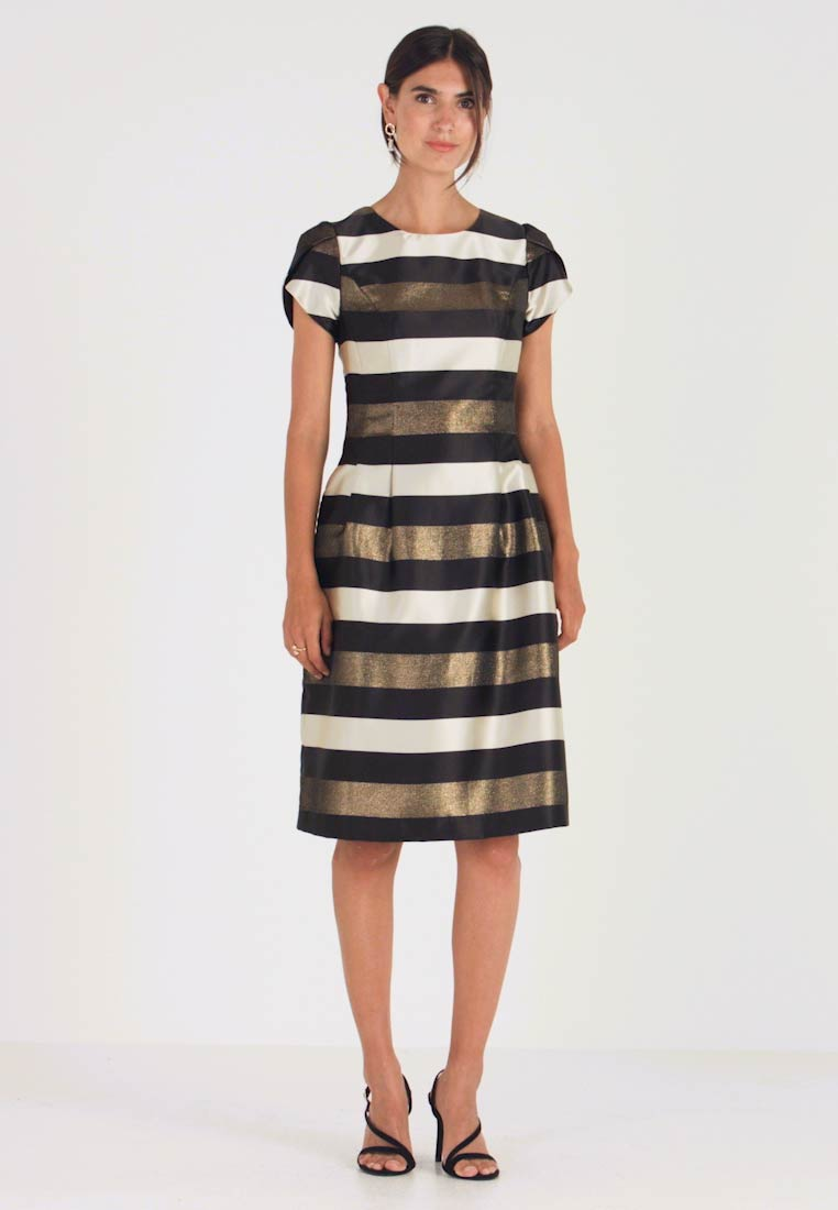 Apart - STRIPED DRESS - Robe de soirée - black/gold/cream - 1