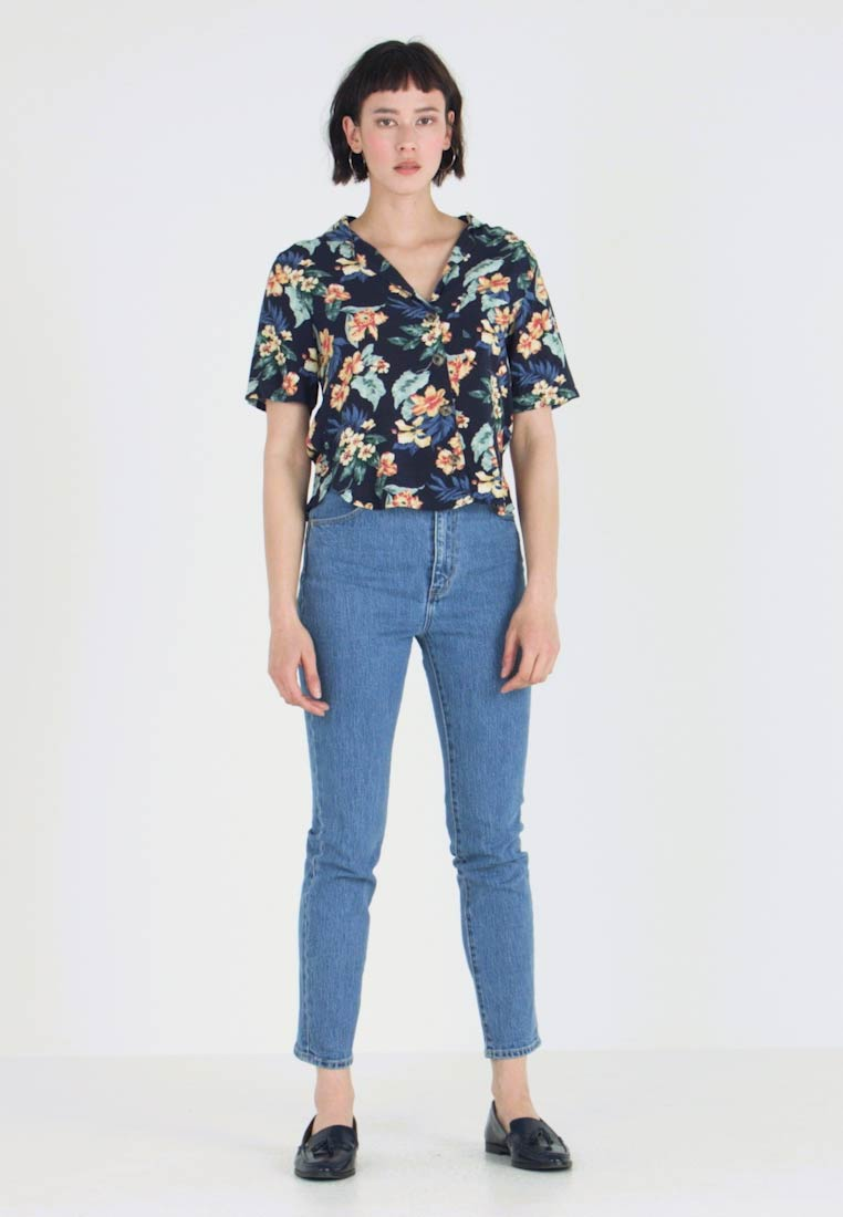 Abercrombie & Fitch - RESORT POCKET TEE - Button-down blouse - navy - 1