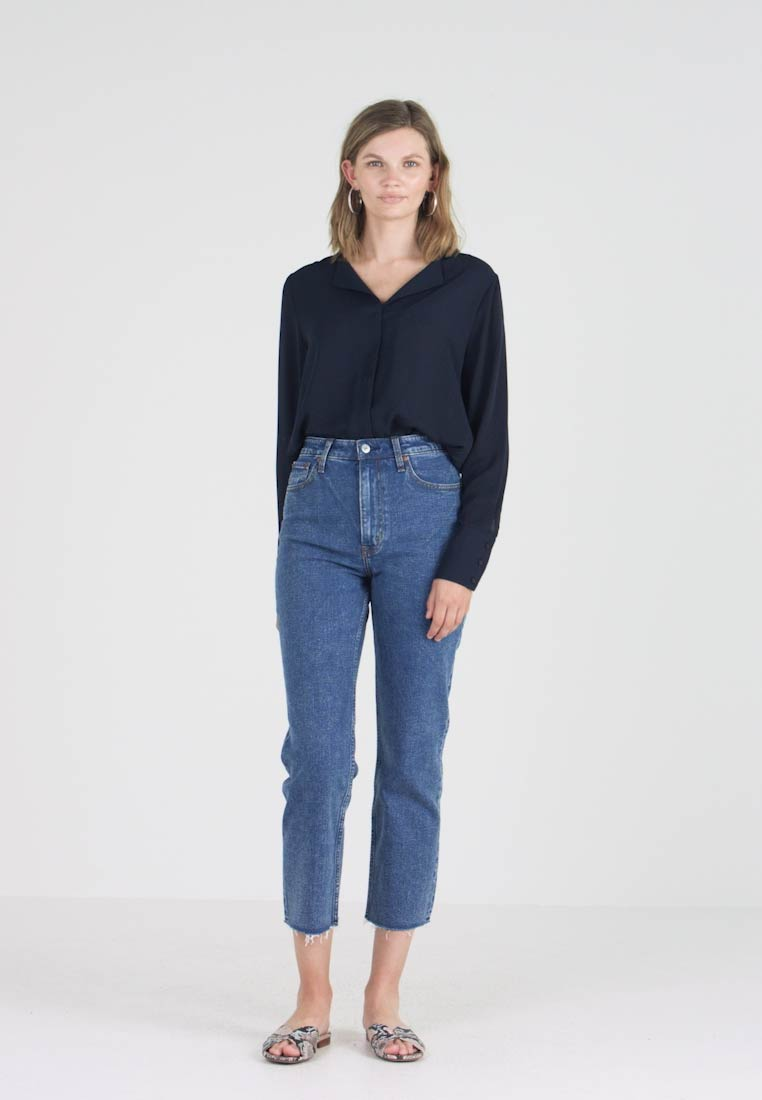 Abercrombie & Fitch - MARBLED ULTRA HIGH RISE ANKLE - Straight leg jeans - dark blue denim - 1