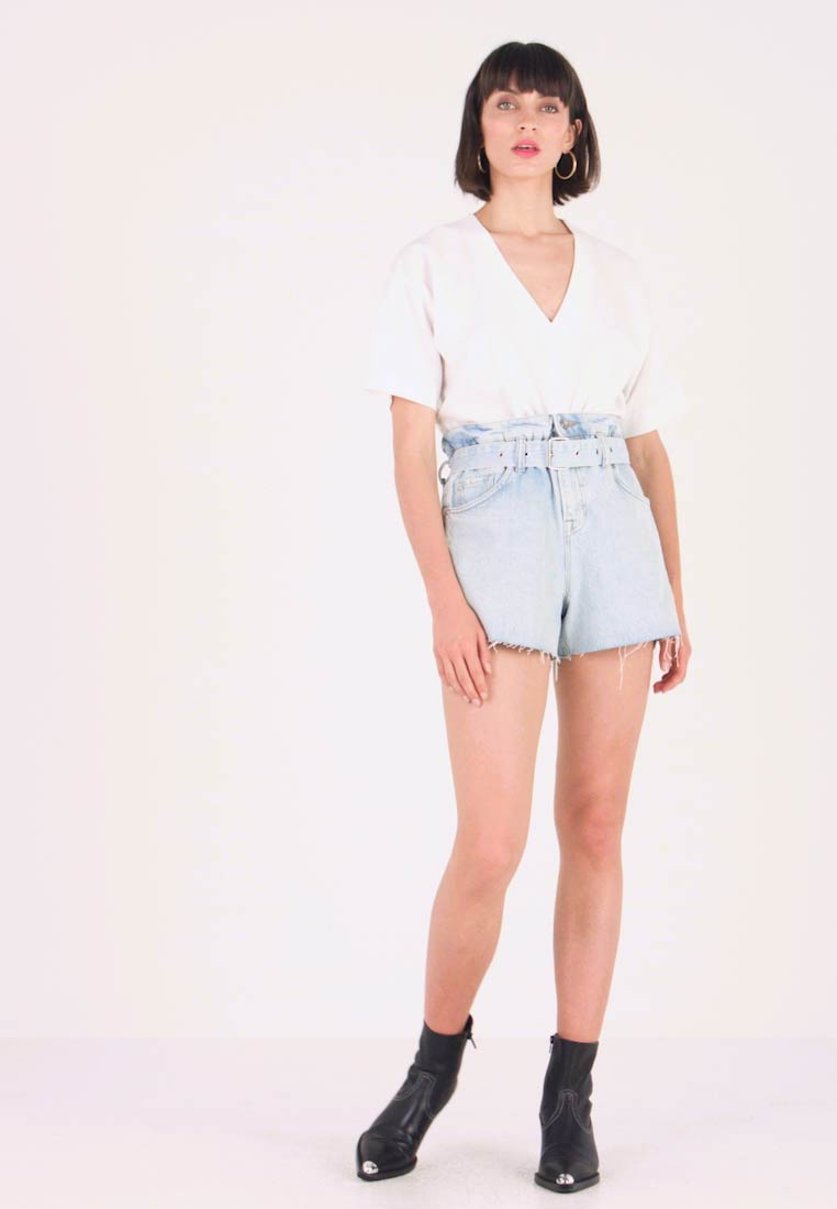 AllSaints - HANNAH PAPER BAG - Denim shorts - light-blue denim - 1