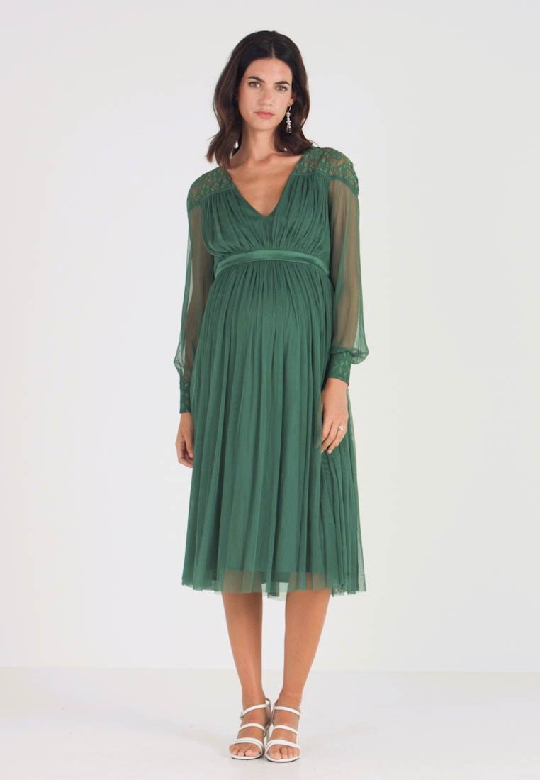Anaya with love Maternity - LACE YOKE WITH LONG SLEEVES - Vestito elegante - emerald green - 1