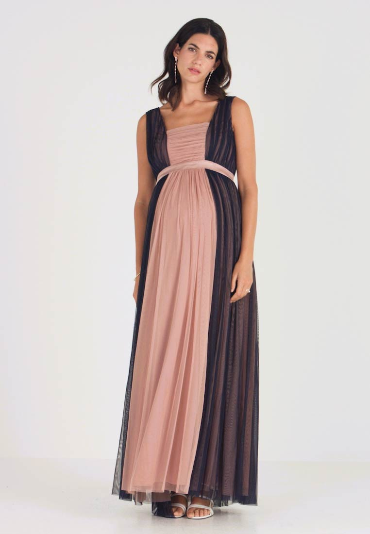 Anaya with love Maternity - CONRAST GATHERED MAXI DRESS WITH WAISTBAND - Occasion wear - navy/pearl blush - 1