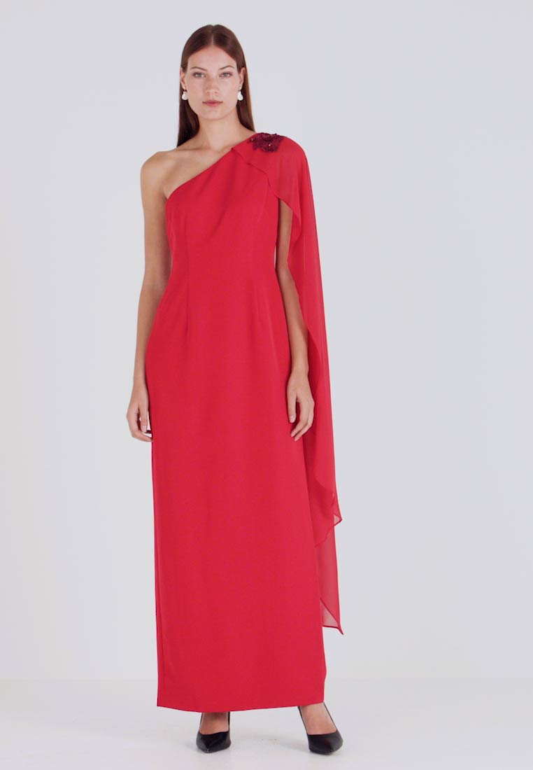Adrianna Papell - ONE SHOULDER CAPE COLUMN GOWN - Iltapuku - cardinal - 1