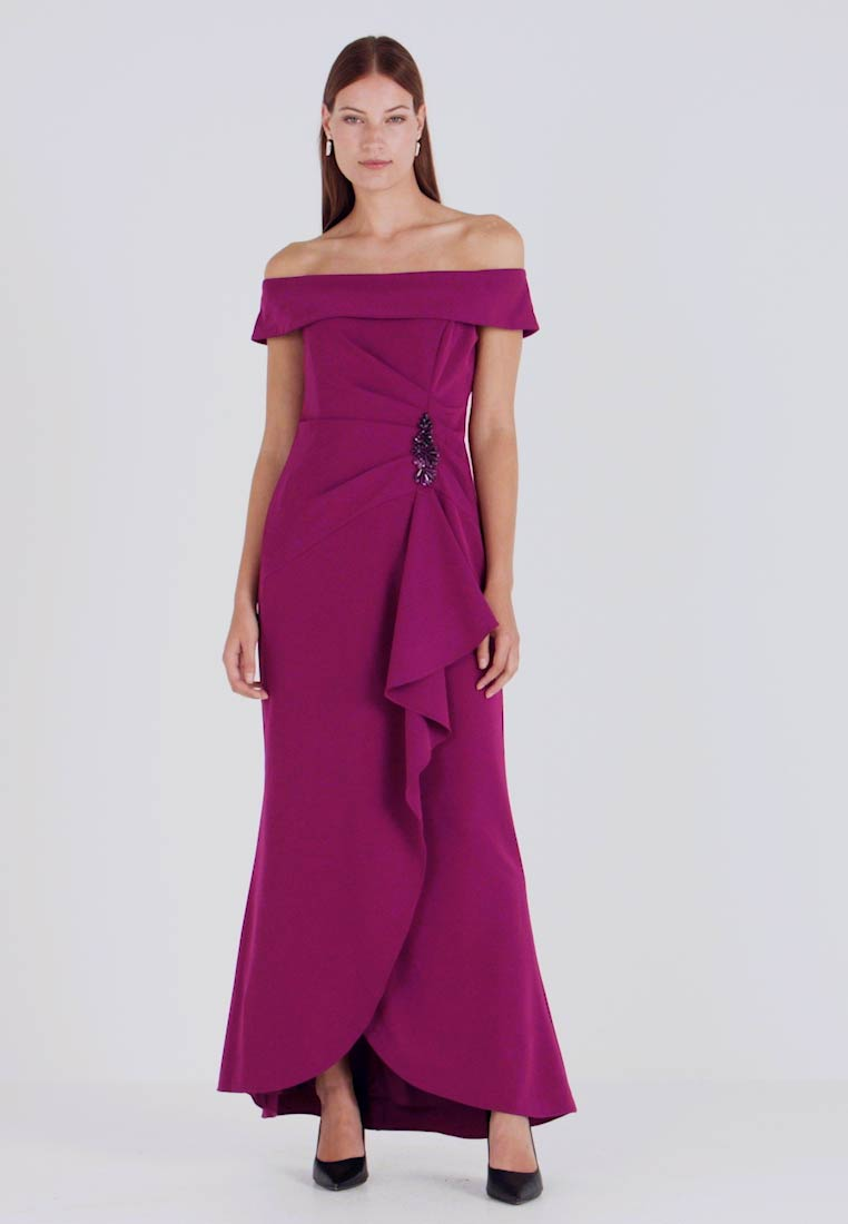 Adrianna Papell - OFF SHOULDER DRAPED GOWN - Occasion wear - wildberry - 1