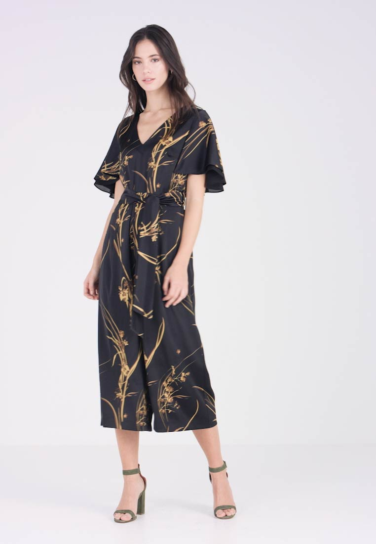 Coast - ELDORA PRINTED V NECK WIDE LEG - Jumpsuit - black - 1