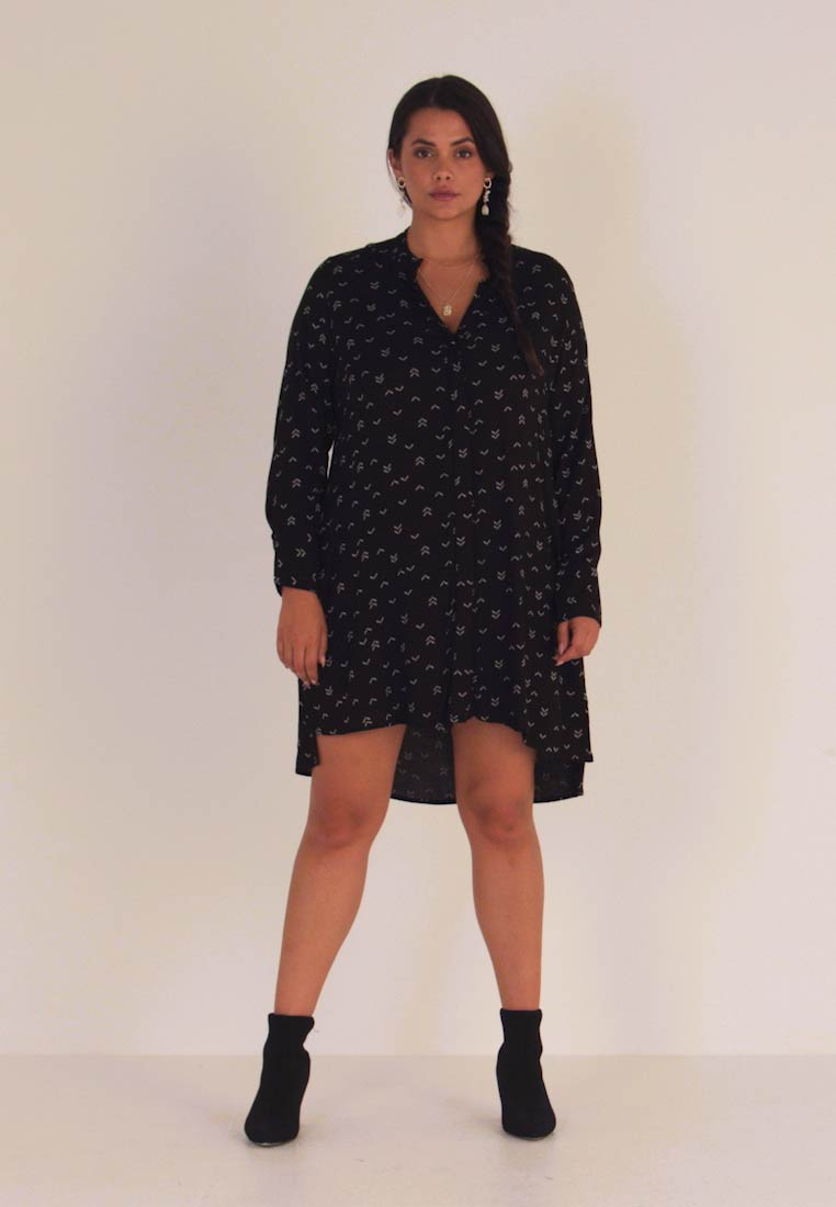 CAPSULE by Simply Be - SPORTY TRIM SWING DRESS - Shirt dress - black - 1