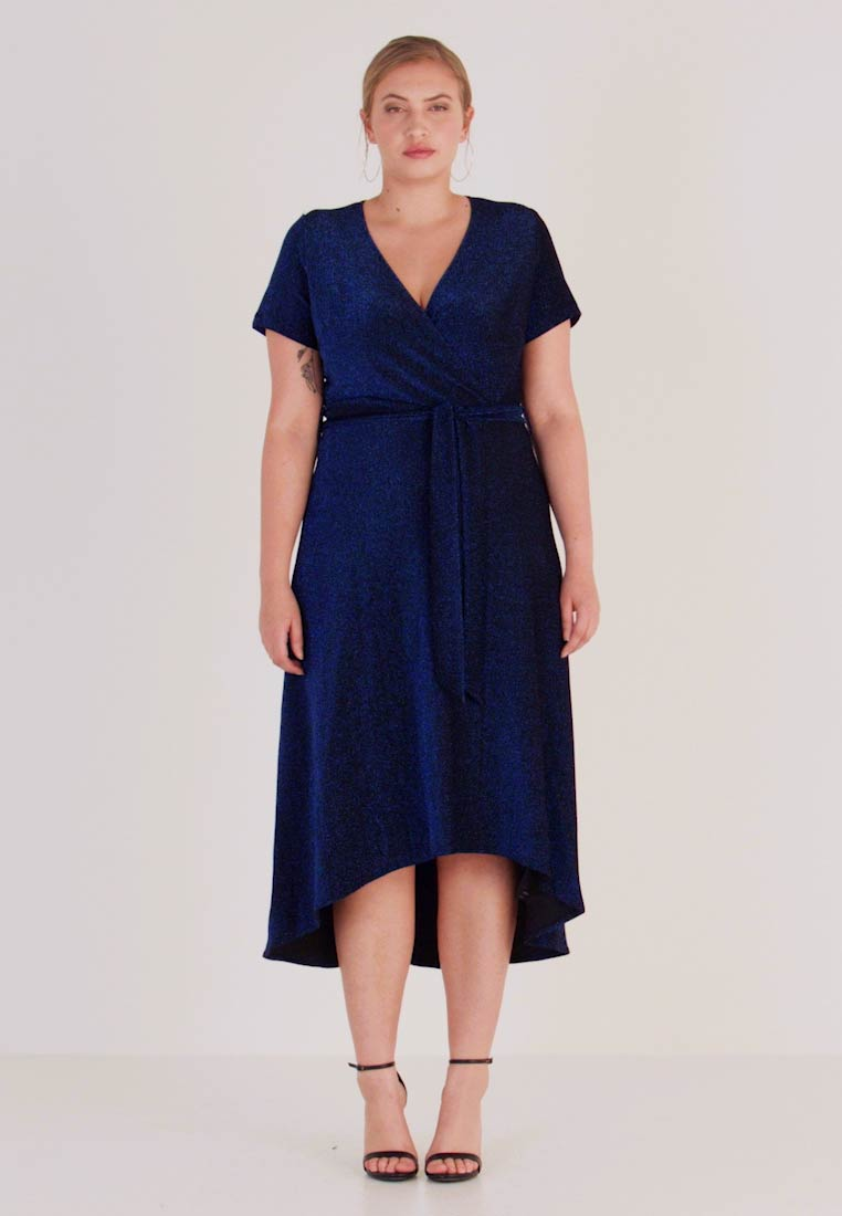 CAPSULE by Simply Be - GLITTER WRAP SKATER DRESS - Cocktailklänning - cobalt - 1