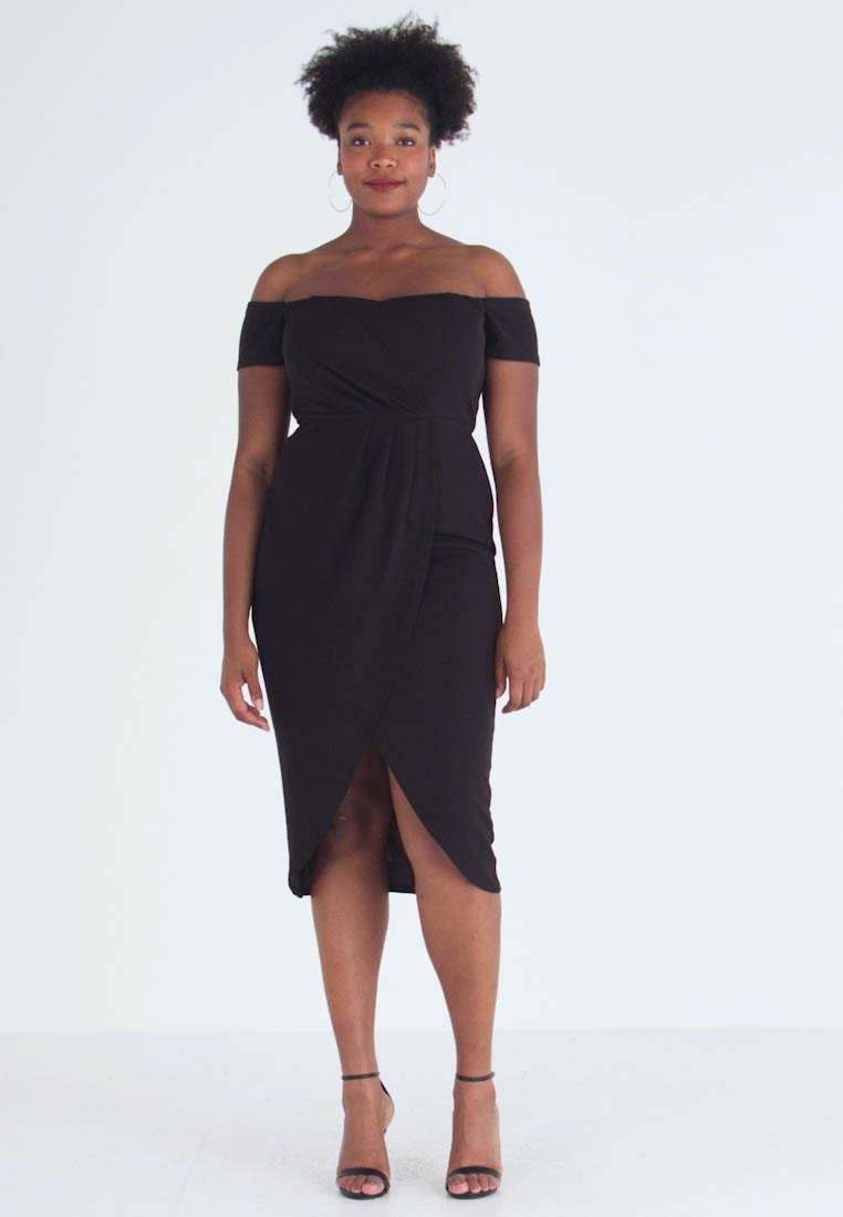 CAPSULE by Simply Be - BARDOT WRAP MIDI DRESS - Kotelomekko - black - 1
