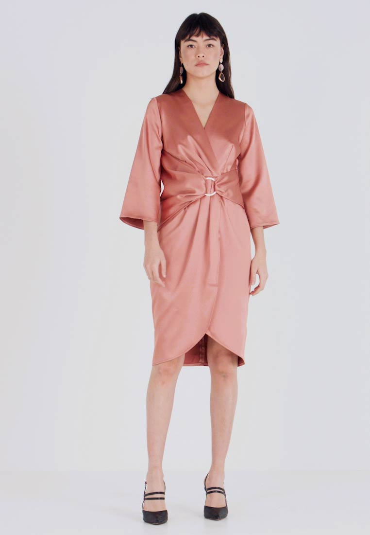 Closet - PLEATED WRAP DRESS - Day dress - rose gold - 1