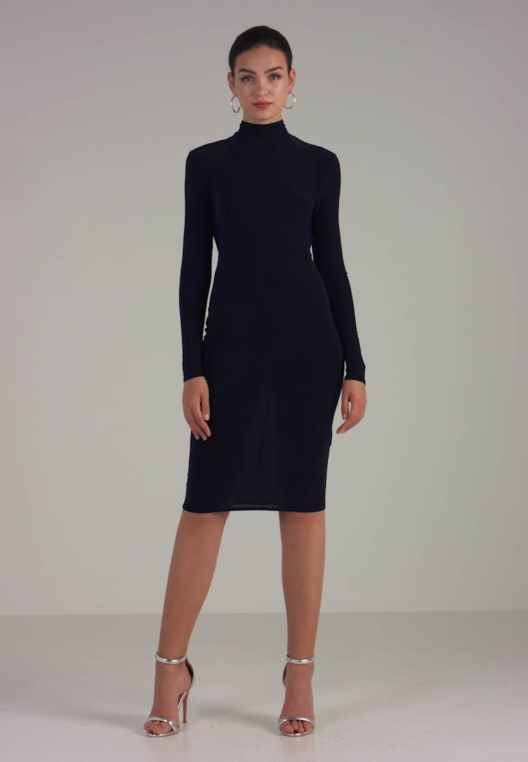 Club L London - OPEN BACK RUCHED LONG SLEEVE BODYCON DRESS - Etui-jurk - navy - 1