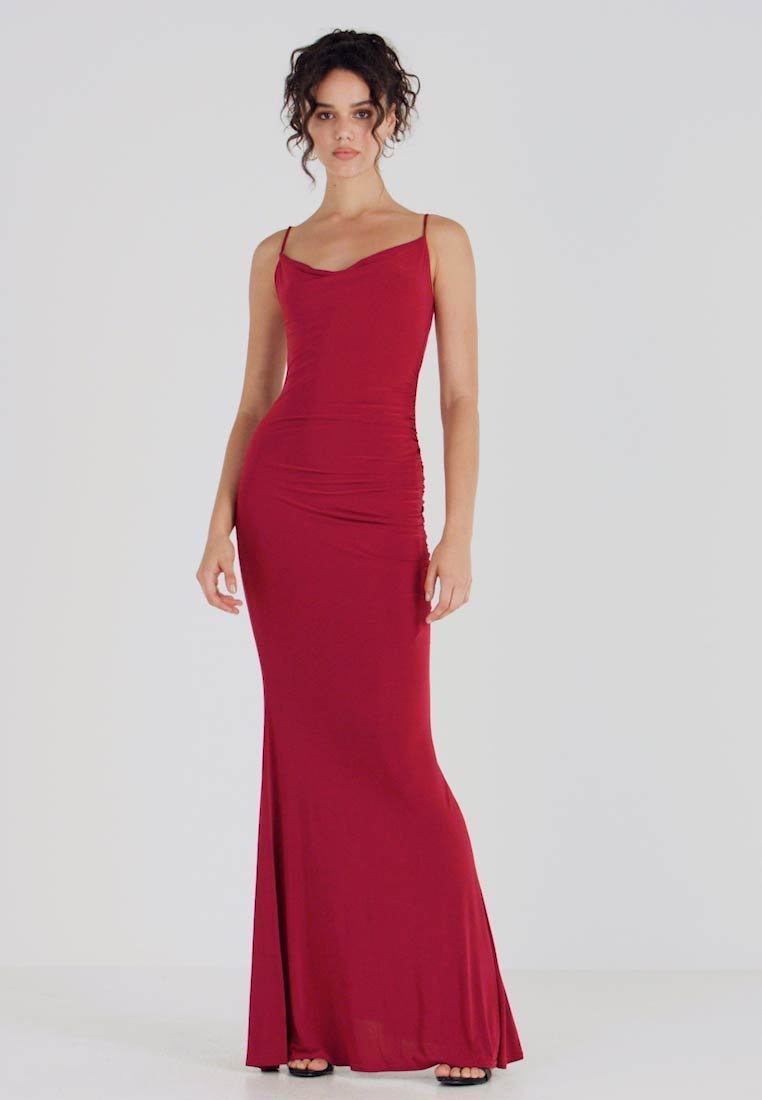 Club L London - CAMI STRAP COWL INSERT BACK DRESS - Occasion wear - wine - 1