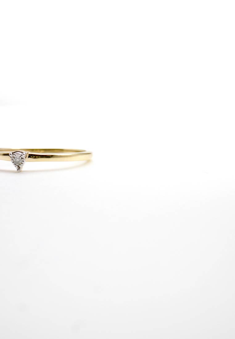 DIAMANT L'ÉTERNEL - 9KT YELLOW GOLD CERTIFIED DIAMOND ILLUSION PLATE RING - Ring - gold-coloured - 1