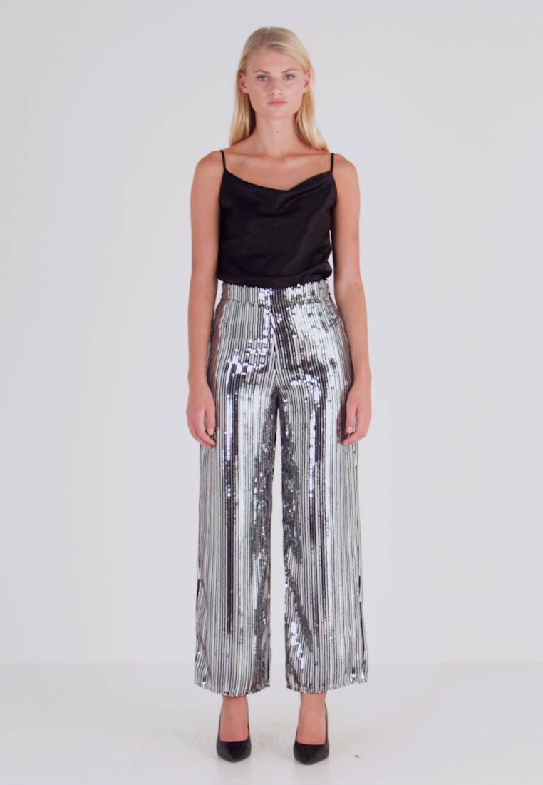 Dorothy Perkins - SEQUIN STRIPE PALAZZO - Tygbyxor - silver - 1