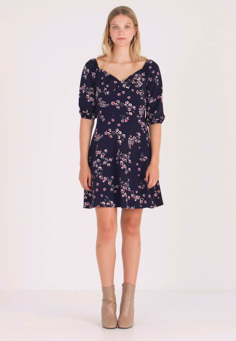 Dorothy Perkins - SLEEVE GYPSY TIE FRONT FIT FLARE - Jerseykjoler - navy - 1