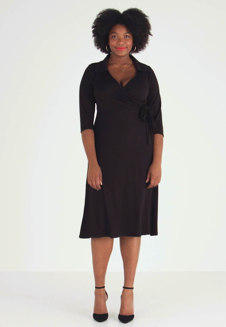 Dorothy Perkins Curve - OPEN COLLAR DRESS - Jerseykjoler - black - 1