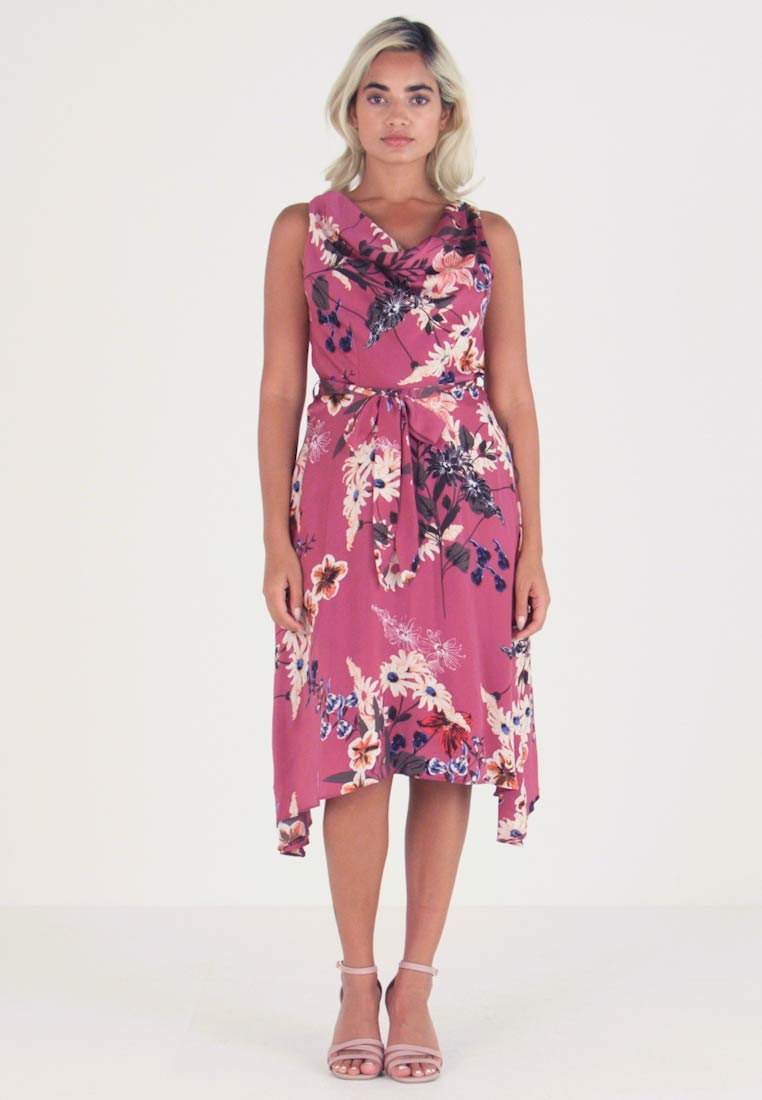 Dorothy Perkins Petite - FLORAL COWL NECK DRESS - Vardagsklänning - purple - 1