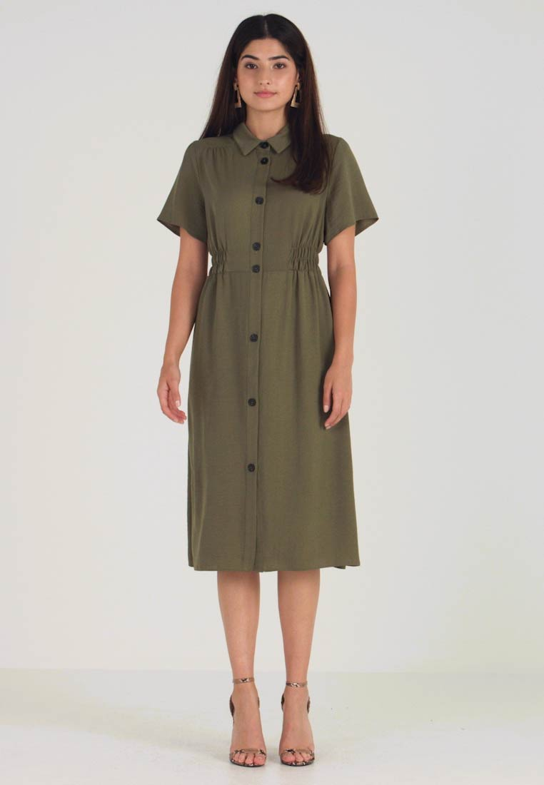 Dorothy Perkins Petite - BUTTON THROUGH MIDI DRESS - Košilové šaty - green - 1
