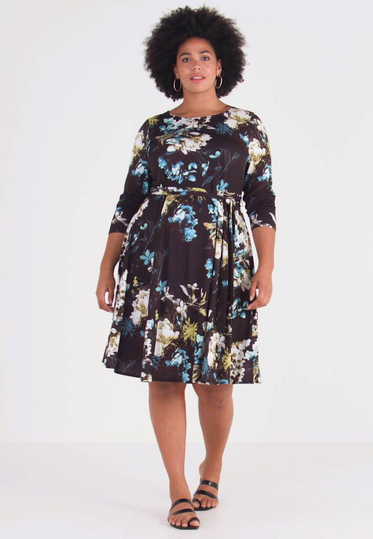 Evans - FLORAL FIT AND FLARE DRESS - Jersey dress - multi - 1