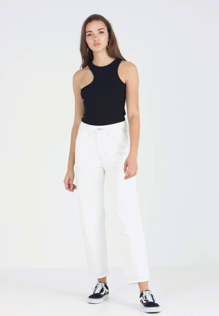 Gina Tricot - CONTRAST WORKER - Relaxed fit jeans - offwhite/beige - 1