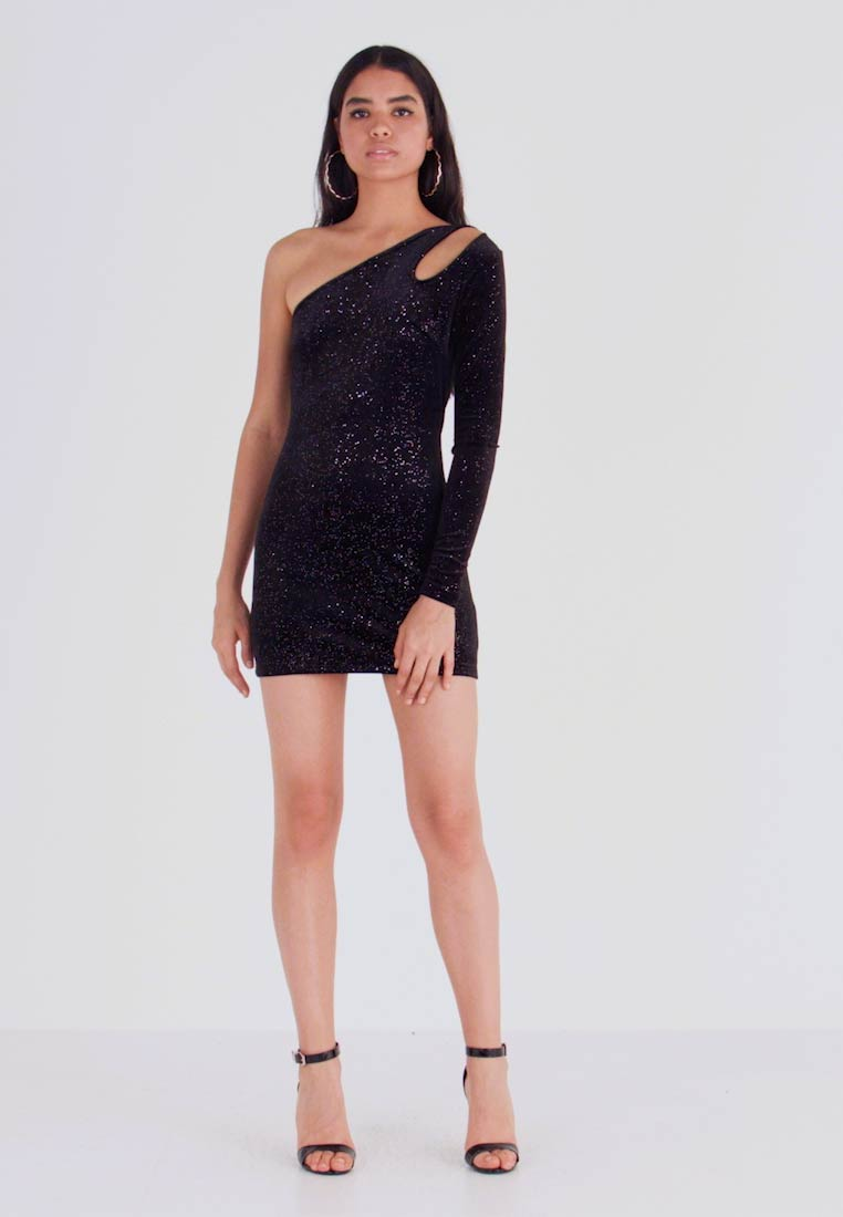 Glamorous - MOONLIGHT AYSMMETRIC DRESS - Pouzdrové šaty - sparkle black - 1