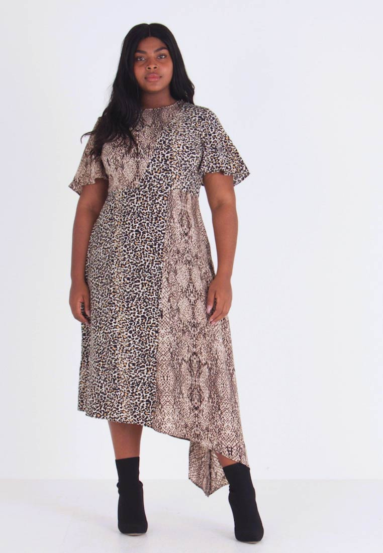 Glamorous Curve - MIX AND MATCH ASYMETRIC ANIMAL MIDI DRESS - Maxi dress - brown - 1