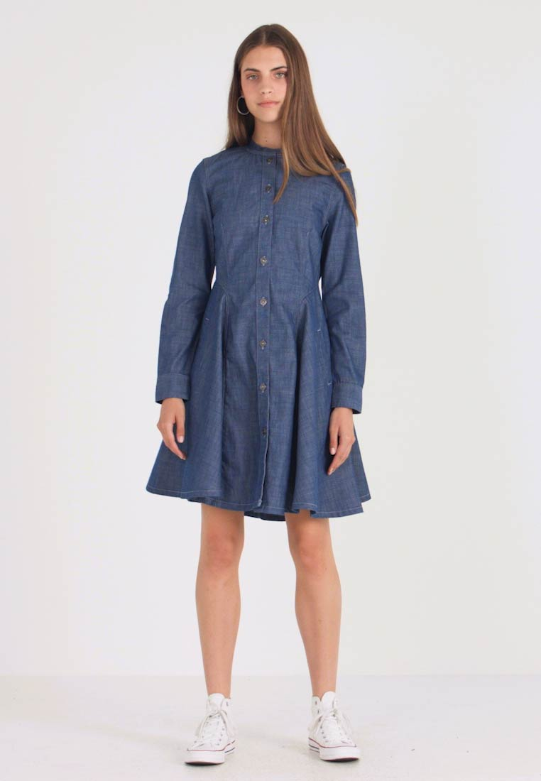 G-Star - BRISTUM SLIM FLARE FRINGE DRESS - Denim dress - rinsed - 1