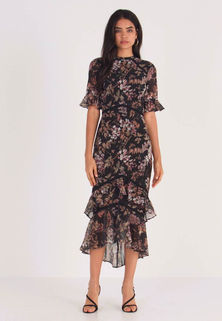 Hope & Ivy Tall - DOUBLE DROP MIDI DRESS WITH OPEN BACK - Cocktailkjole - black - 1