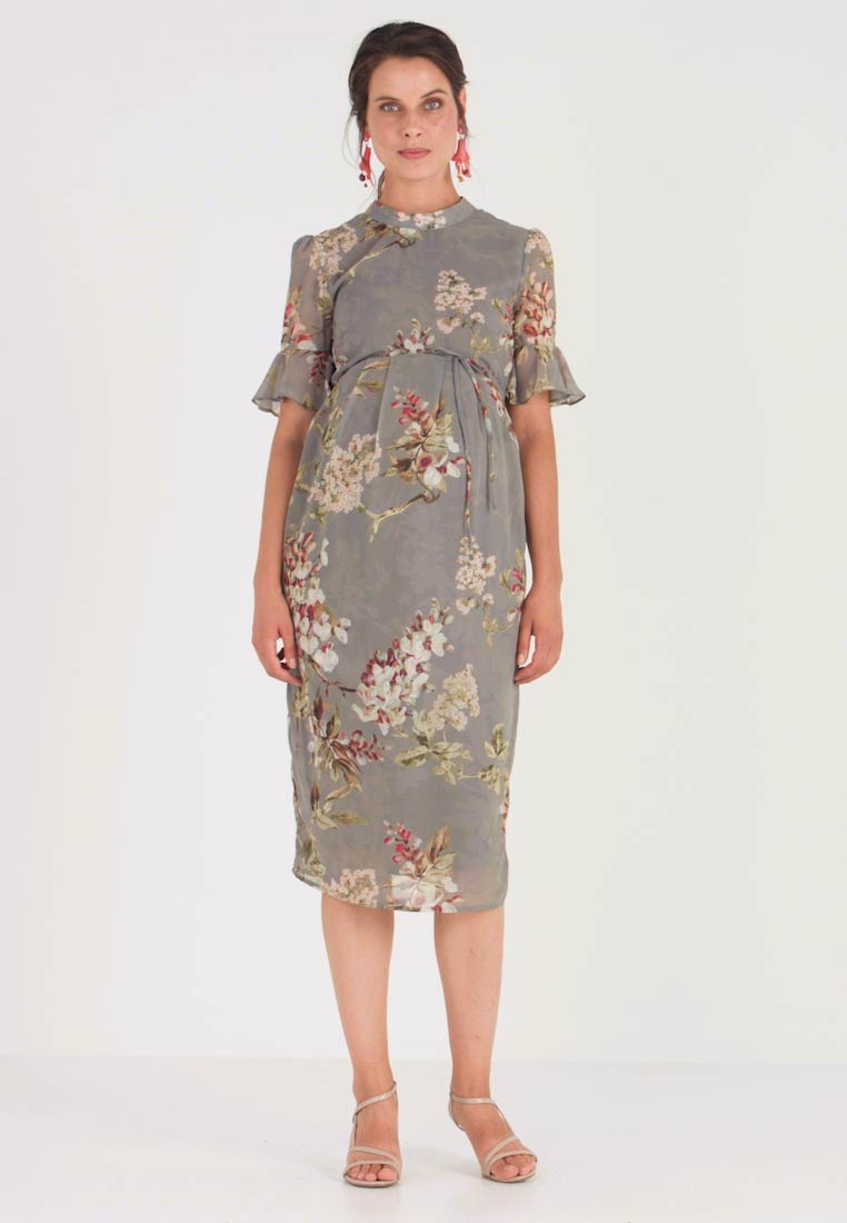 Hope & Ivy Maternity - FITTED PENCIL WITH FLUTED SLEEVE - Day dress - grey print - 1