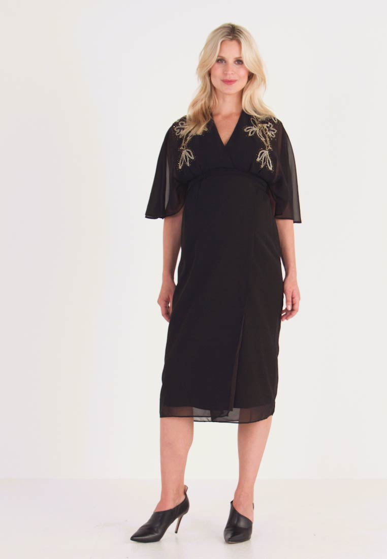 Hope & Ivy Maternity - BEADED WRAP KIMONO DRESS - Day dress - black - 1
