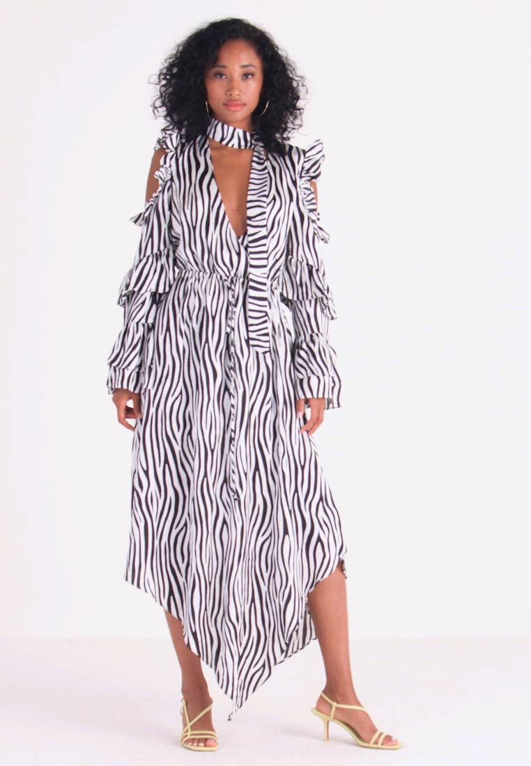 Honey Punch - NECK TIE DRESS - Maxi šaty - black/white - 1