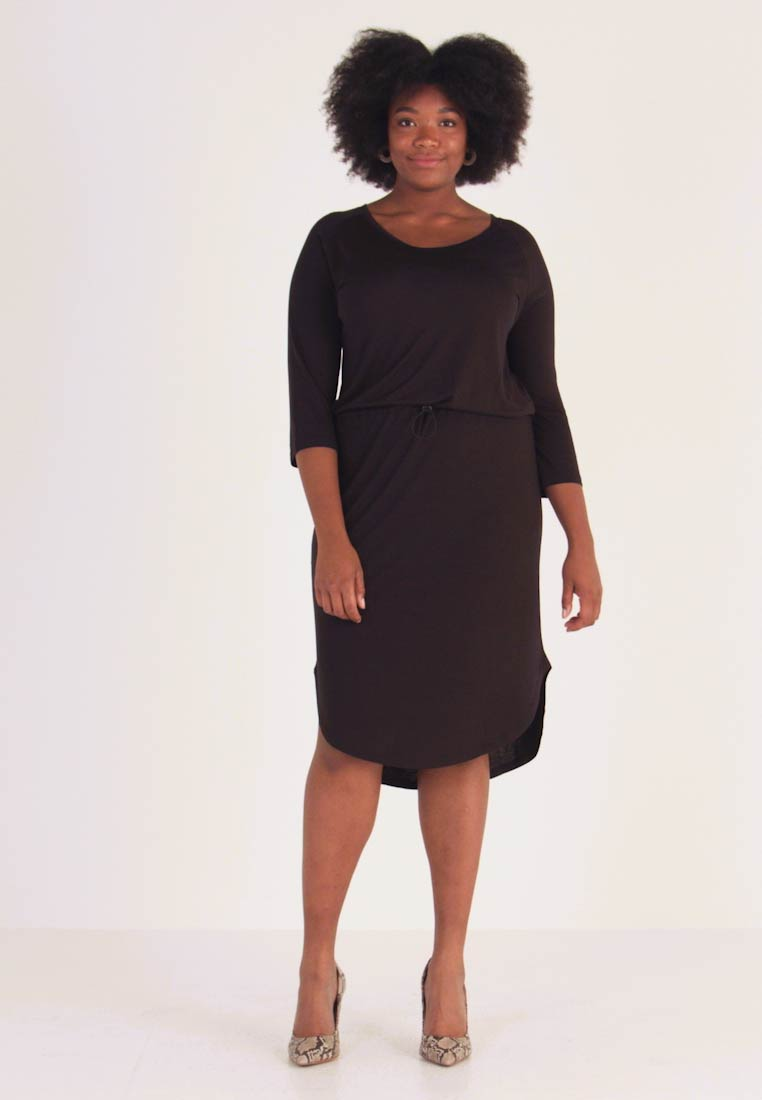 JUNAROSE - by VERO MODA - JRZAKAS 3/4 SLEEVE BELOW KNEE DRESS - Robe en jersey - black - 1