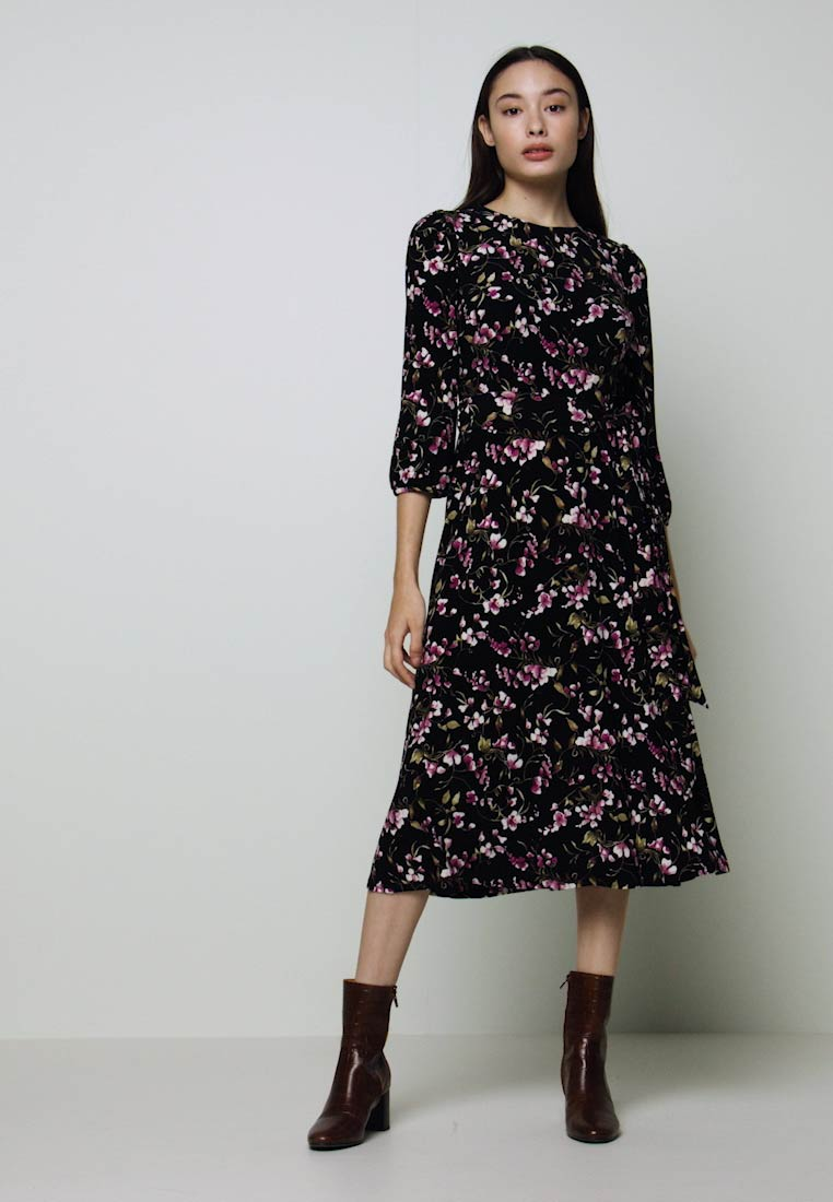 Lauren Ralph Lauren Petite - FELIA SLEEVE DAY DRESS - Sukienka z dżerseju - black/multi - 1