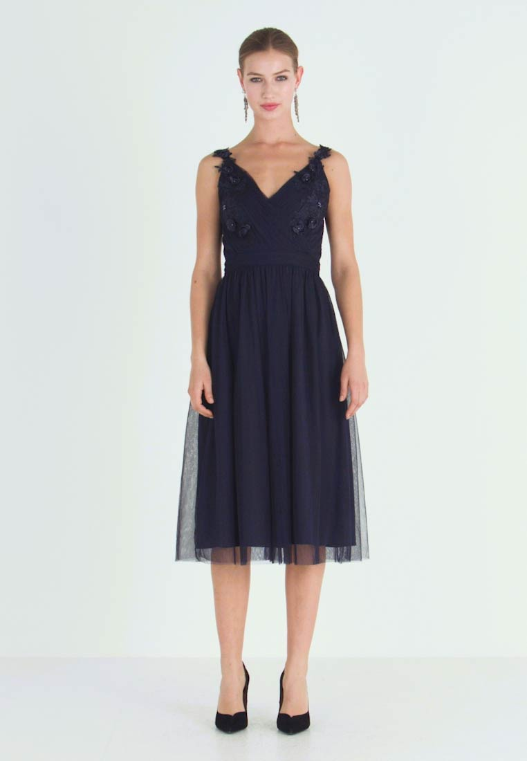 Little Mistress - A ROSETTE MIDI PROM DRESS WITH FLORAL AND FAU - Cocktailjurk - navy - 1