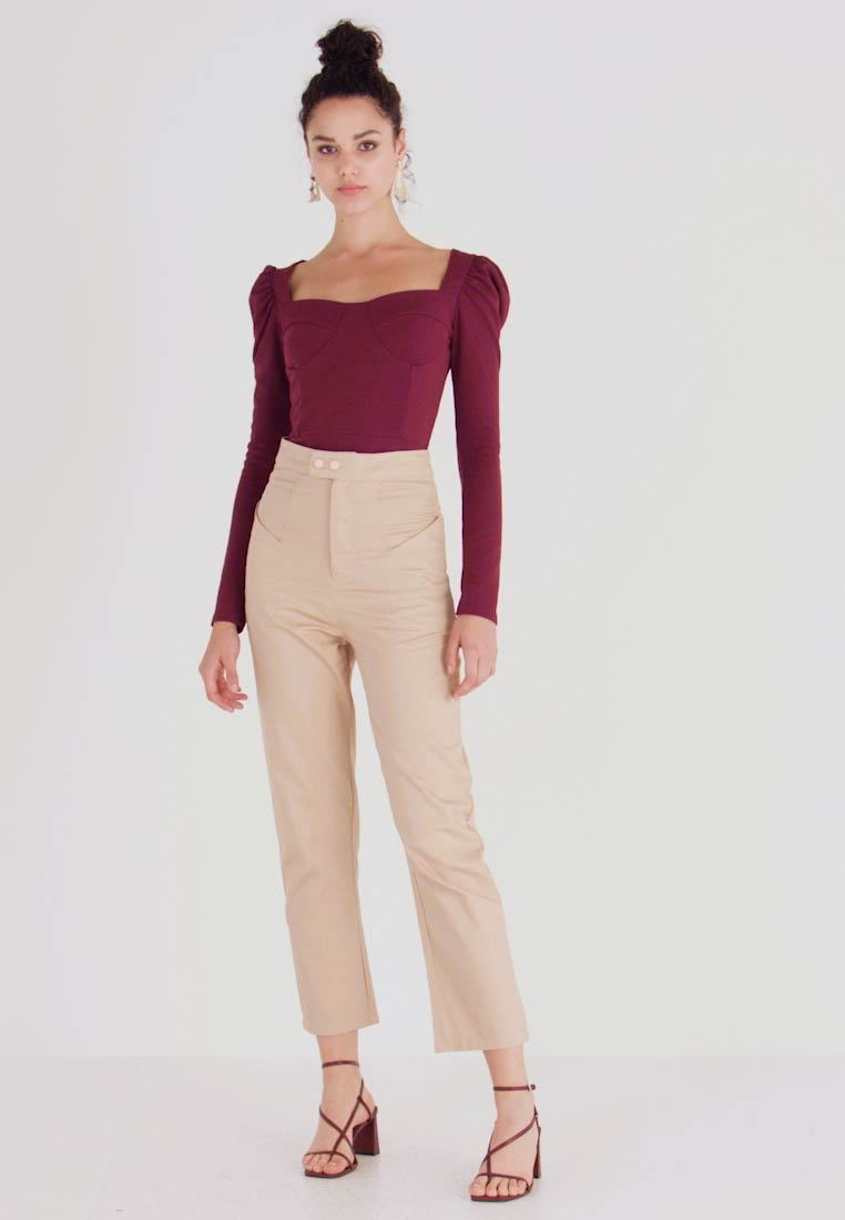 Missguided - HIGH WAISTED TROUSERS - Kangashousut - beige - 1