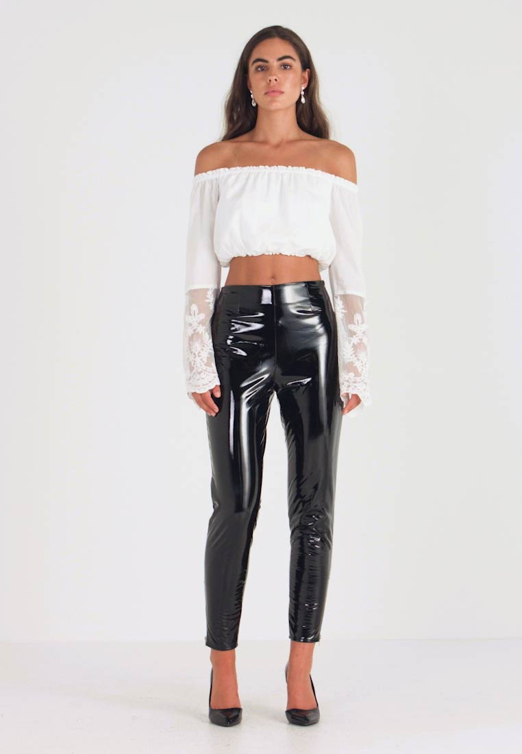 Missguided - ZIP DETAIL TROUSERS - Trousers - black - 1