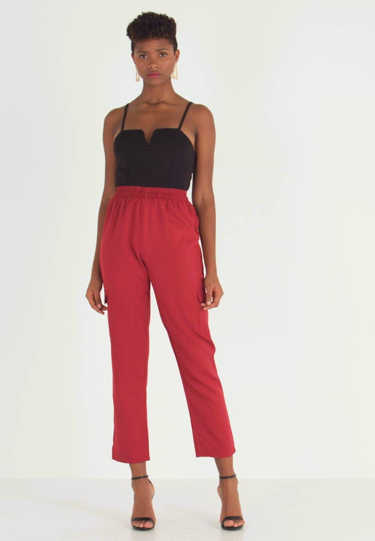 Missguided - POCKET UTILITY TROUSERS - Pantalones - red - 1