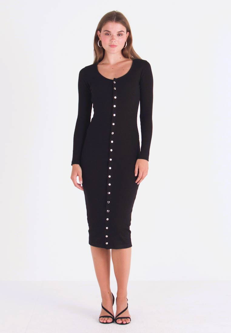 Missguided - LONG SLEEVE POPPER MIDI DRESS - Shift dress - black - 1