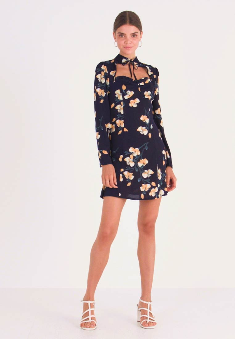 Missguided - OPEN FRONT MINI DRESS - Day dress - navy - 1