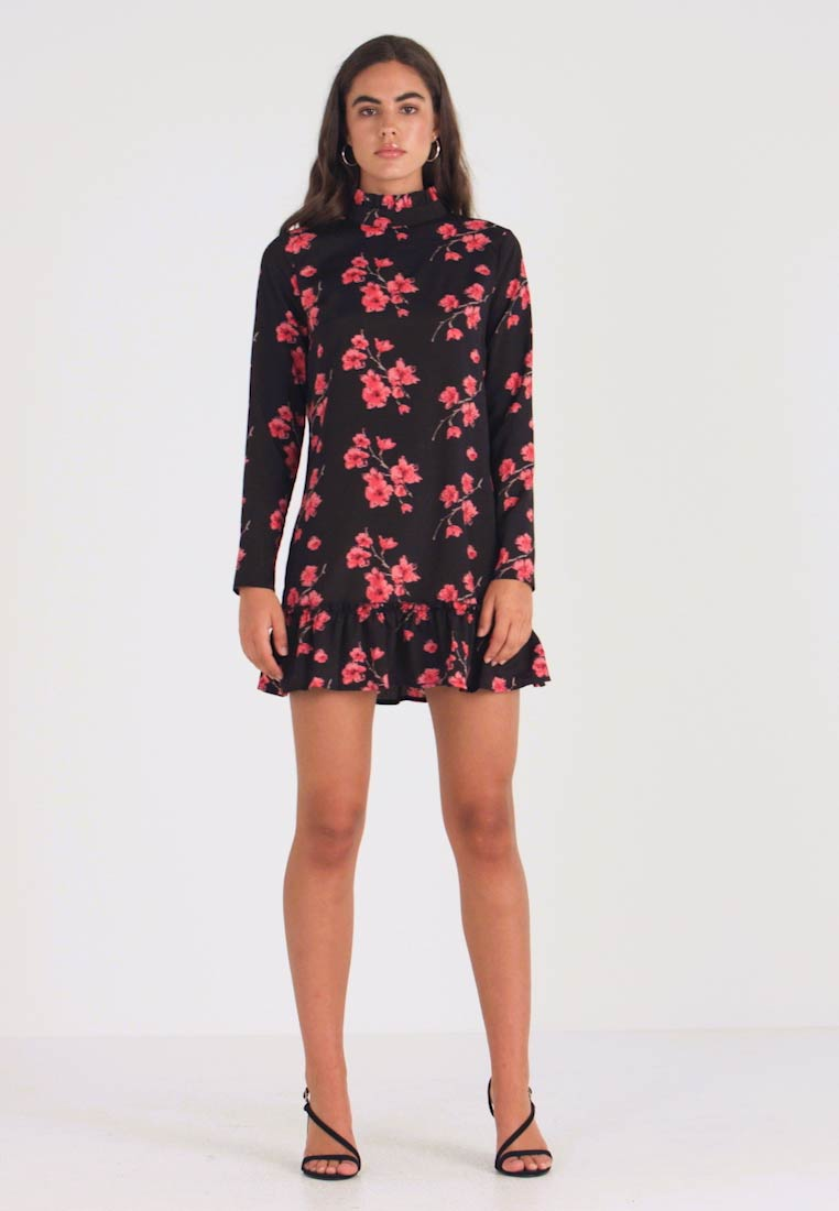 Missguided - HIGH NECK FRILL HEM DRESS FLORAL - Robe d'été - black - 1