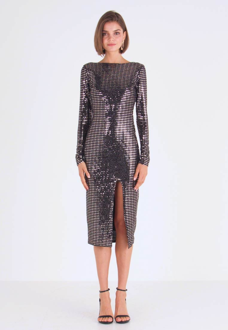 Missguided - SEQUIN OPEN BACK BODYCON MIDI DRESS - Cocktail dress / Party dress - black - 1