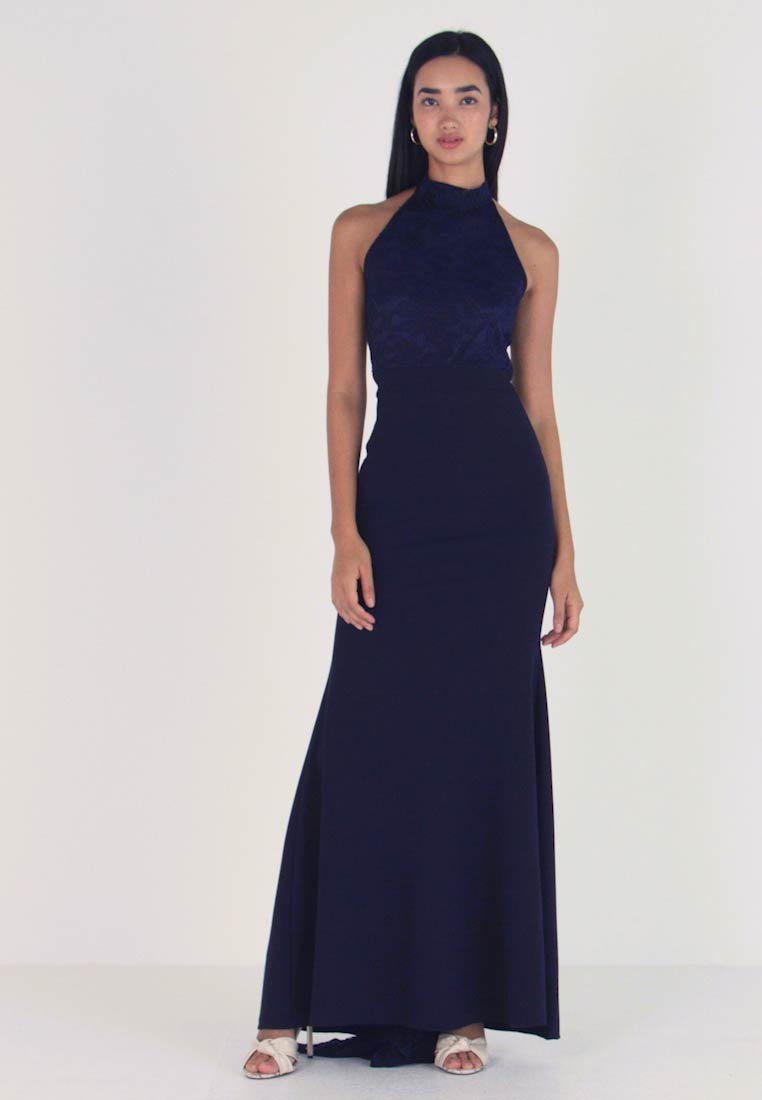 Missguided - BRIDESMAID HALTERNECK FISHTAIL MAXI - Galajurk - navy - 1