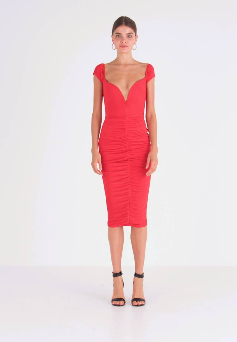 Missguided - V PLUNGE BARDOT RUCHED MIDI DRESS - Jerseyjurk - red - 1