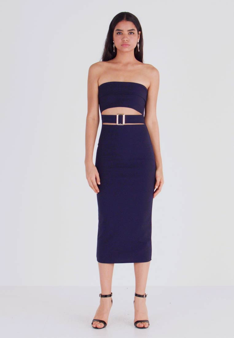 Missguided - CUT OUT BABDEAU BUCKLE MIDAXI DRESS - Etuikjole - navy - 1