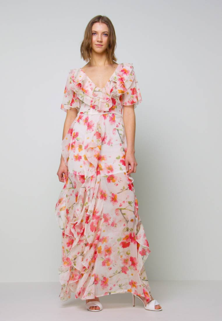 Missguided - FLORAL RUFFLE HIGH LOW MAXI DRESS - Robe de cocktail - pink - 1
