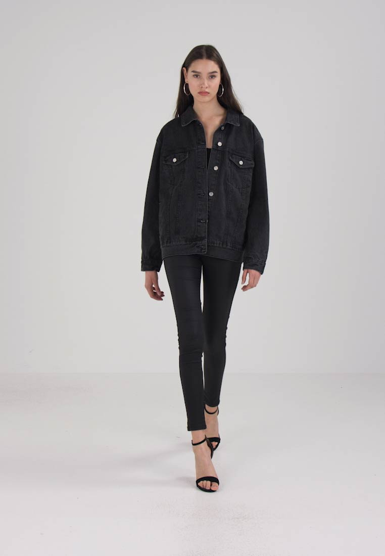 Missguided - OVERSIZED JACKET - Cowboyjakker - black - 1