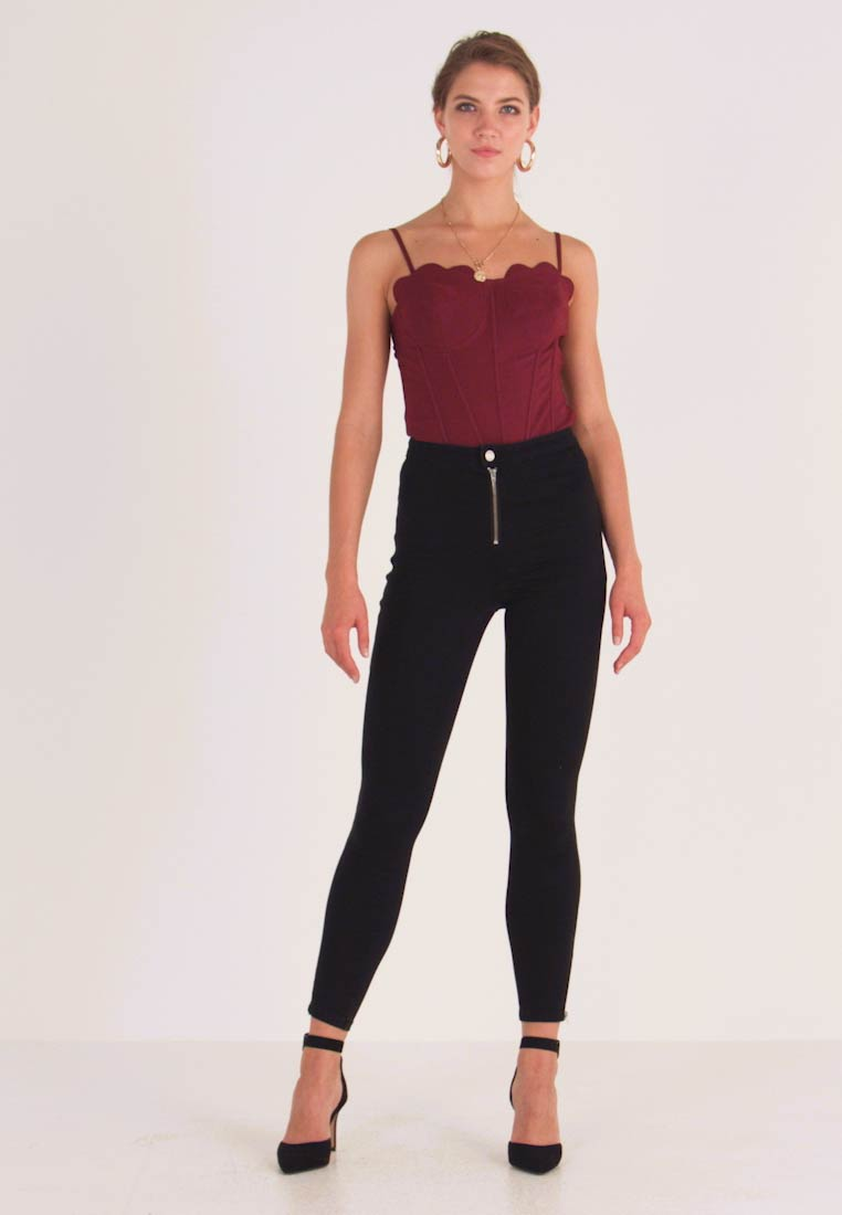 Missguided - VICE BUTTON UP WITH ANKLE ZIP - Vaqueros pitillo - black - 1