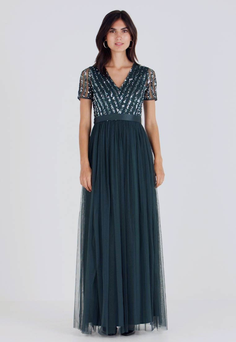 Maya Deluxe - STRIPE EMBELLISHED MAXI DRESS WITH BOW TIE - Suknia balowa - emerald - 1