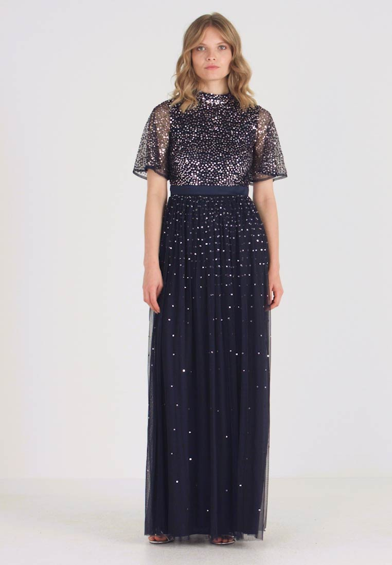 Maya Deluxe - HIGH NECK MAXI DRESS WITH OPEN BACK AND SCATTERED SEQUIN - Suknia balowa - navy - 1