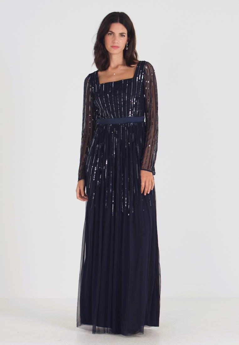 Maya Deluxe - SQUARE NECK STRIPE EMBELLISHED MAXI DRESS WITH FLUTED SLEEVES - Abito da sera - navy - 1
