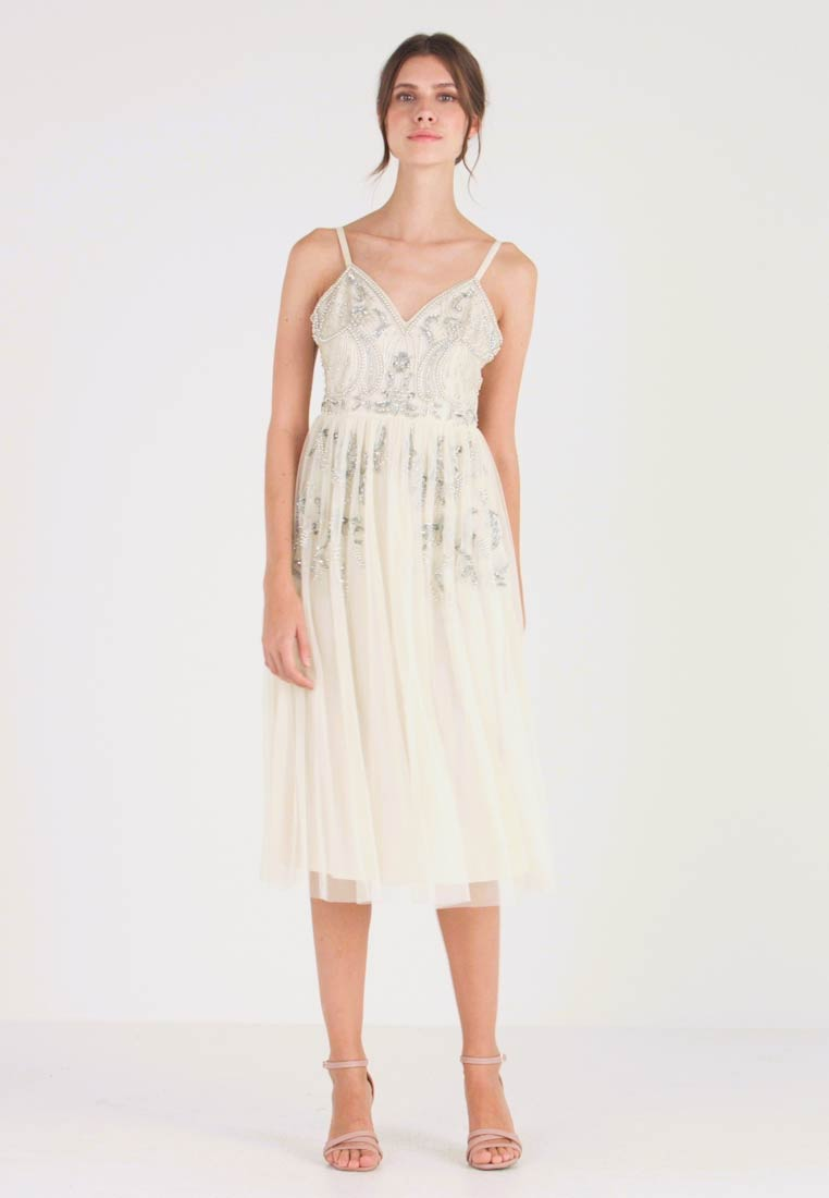 Maya Deluxe - EMBELLISHED CAMIMIDI DRESS - Cocktailkjole - offwhite - 1